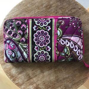 Vera Bradley wallet hot pink interior zip close